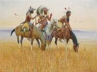 IN BONNET AND PAINT, EARLY-DAY SIOUX SCOUTS